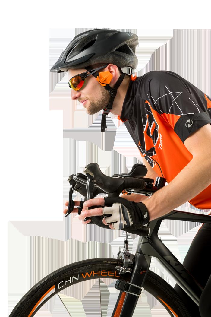 Cycliste utilisant le Windfender de BIQ