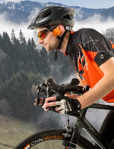Cycliste équipé du Windfender de BIQ